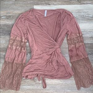 Women's Tie Front Lace Top